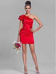 cheap -Sheath / Column One Shoulder Short / Mini Satin Bridesmaid Dress with Sash / Ribbon / Ruffles