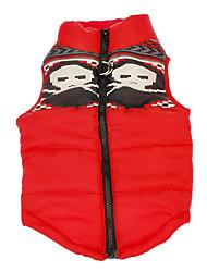 abordables -Chien Manteaux Gilet Hiver Vêtements pour Chien Respirable Rouge Costume Coton Crânes Garder au chaud XS S M L