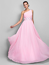 cheap -Sheath / Column One Shoulder Floor Length Chiffon Open Back / Elegant / Pastel Colors Prom / Wedding Party Dress 2020 with Beading / Ruched