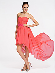 cheap -Ball Gown / A-Line Strapless / Sweetheart Neckline Asymmetrical / Short / Mini Chiffon Bridesmaid Dress with Criss Cross / Ruched / Draping