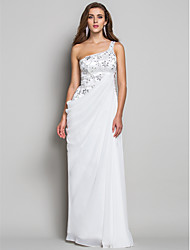 cheap -Sheath / Column Open Back Formal Evening Military Ball Dress One Shoulder Sleeveless Floor Length Chiffon Lace with Lace Crystals Side Draping 2021
