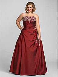 cheap -Ball Gown Strapless Floor Length Taffeta Plus Size / Red Prom / Formal Evening Dress with Beading / Appliques 2020