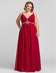 cheap -A-Line Spaghetti Strap Floor Length Chiffon Elegant / Minimalist Prom / Formal Evening Dress with Beading / Ruched 2020