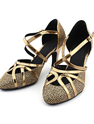 cheap -Women's Modern Shoes / Ballroom Shoes Sparkling Glitter / Leatherette Buckle Heel Customized Heel Customizable Dance Shoes Bronze / Gold / EU41