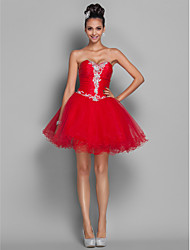 cheap -Ball Gown Open Back Cute Holiday Homecoming Cocktail Party Dress Sweetheart Neckline Sleeveless Short / Mini Organza Tulle with Beading Appliques 2020 / Prom