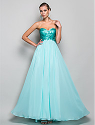 cheap -Ball Gown Pastel Colors Beaded & Sequin Prom Formal Evening Military Ball Dress Strapless Sweetheart Neckline Sleeveless Floor Length Chiffon Sequined with Draping 2020