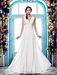 cheap -Sheath / Column V Neck Floor Length Chiffon Regular Straps Made-To-Measure Wedding Dresses with Beading / Appliques / Draping 2020