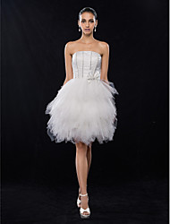 cheap -A-Line Strapless Knee Length Satin / Tulle Graduation / Cocktail Party / Homecoming Dress with Beading / Bow(s) 2020 / Prom