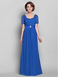 cheap -A-Line Queen Anne Floor Length Chiffon / Lace Mother of the Bride Dress with Beading / Lace / Side Draping by