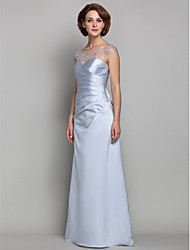 cheap -Sheath / Column Bateau Neck Floor Length Satin / Tulle Mother of the Bride Dress with Beading / Criss Cross by LAN TING BRIDE® / See Through