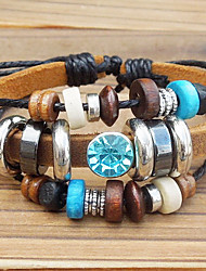 cheap -Women's Charm Bracelet Vintage Bracelet Leather Bracelet Beaded Aquarius Ladies Unique Design Fashion Wooden Bracelet Jewelry For Party Daily Casual Sports