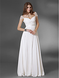 cheap -A-Line V Neck Floor Length Chiffon Elegant / Minimalist Prom / Formal Evening Dress with Sash / Ribbon / Ruched 2020