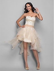 cheap -A-Line Sexy White Homecoming Cocktail Party Dress Sweetheart Neckline Sleeveless Asymmetrical Organza Stretch Satin with Crystals Beading Tier 2020