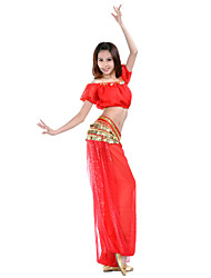 cheap -Belly Dance Outfits Women's Training Chiffon Coin / Sequin Short Sleeves Natural Top / Ballroom