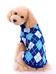 cheap -Dog Sweater Puppy Clothes Plaid / Check Fashion Classic Winter Dog Clothes Puppy Clothes Dog Outfits Blue Costume for Girl and Boy Dog Woolen XS S M L XL