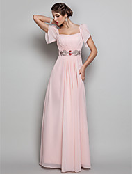 cheap -Sheath / Column Square Neck Floor Length Chiffon Open Back / Pastel Colors Prom / Formal Evening / Military Ball Dress with Beading / Draping 2020
