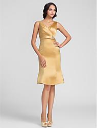 cheap -Sheath / Column V Neck Knee Length Charmeuse Bridesmaid Dress with Criss Cross / Crystal Brooch by LAN TING BRIDE®