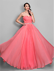 cheap -Sheath / Column Open Back Prom Formal Evening Military Ball Dress Sweetheart Neckline Sleeveless Floor Length Chiffon with Crystals Side Draping 2021