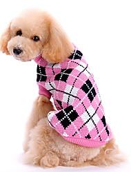 cheap -Dog Sweater Winter Dog Clothes Pink Costume Woolen Plaid / Check Keep Warm XS S M L XL