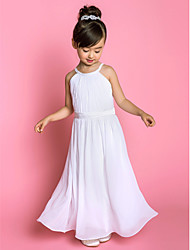 cheap -A-Line Floor Length Flower Girl Dress - Chiffon / Stretch Satin Sleeveless Jewel Neck with Sash / Ribbon / Side Draping / First Communion