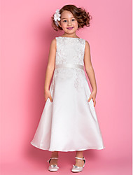 cheap -A-Line Tea Length Flower Girl Dress - Satin Sleeveless Scoop Neck with Appliques / Bow(s) / Spring / Summer / Fall / Winter / First Communion