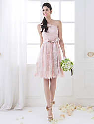 cheap -A-Line One Shoulder Knee Length Lace Bridesmaid Dress with Sash / Ribbon by LAN TING BRIDE®