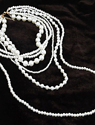 cheap -Women's Beaded Necklace Ladies Pearl Pearl White Necklace Jewelry For Party Daily