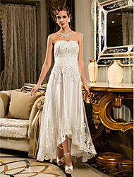 cheap -A-Line Strapless Asymmetrical Beaded Lace Strapless Vintage Illusion Detail Wedding Dresses with Appliques / Button 2020