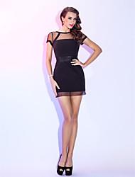 cheap -Sheath / Column Little Black Dress Holiday Homecoming Cocktail Party Dress Illusion Neck Short Sleeve Short / Mini Chiffon with Sash / Ribbon Pleats 2020