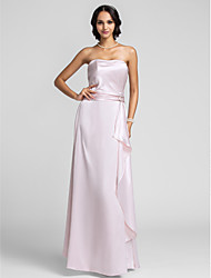 cheap -A-Line Strapless Floor Length Charmeuse Bridesmaid Dress with Crystal Brooch / Ruffles by