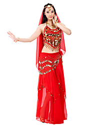 cheap -Belly Dance Outfits Women's Performance Chiffon Beading / Sequin / Coin 7.87inch(20cm) Top / Skirt / Hip Scarf