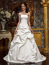 cheap -Ball Gown Strapless Sweep / Brush Train Satin Strapless Made-To-Measure Wedding Dresses with Pick Up Skirt 2020
