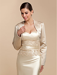 cheap -Long Sleeve Satin Wedding / Party Evening / Casual Wedding  Wraps With Beading / Sequin Coats / Jackets