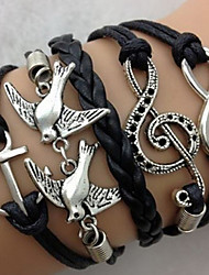 cheap -Women's Charm Bracelet Wrap Bracelet Leather Bracelet Layered Twisted woven Bird Tree of Life Anchor Ladies Personalized Vintage European Fashion Leather Bracelet Jewelry Black / Brown For Christmas