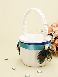 "cheap -Others Flower Basket Wood / Satin 3 1/2"" (9 cm) Acrylic / Rhinestone / Feather / Ribbons"