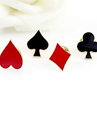 cheap -Poker Design Small Cravat Lavalier Pin Brooch-Set of 4