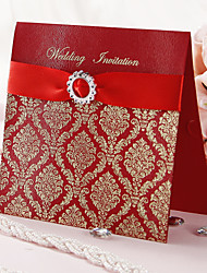 """cheap -Top Fold Wedding Invitations Invitation Cards Artistic Style / Classic Style / Floral Style Art Paper 6 1/4""""×6 1/4"""" (16*16cm) Rhinestone / Ribbons"""
