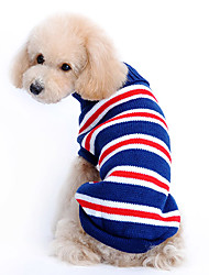 cheap -Dog Sweater Dog Clothes Stripes Dark Blue Woolen Costume For Winter