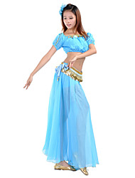 cheap -Belly Dance Outfits Women's Training / Performance Chiffon Beading / Coin / Split Front 7.87inch(20cm) Top / Skirt