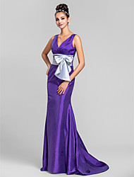 cheap -Mermaid / Trumpet V Neck Sweep / Brush Train Taffeta Bridesmaid Dress with Bow(s) / Criss Cross / Ruched