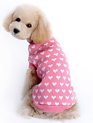cheap -Sweater Puppy Clothes Heart Keep Warm Winter Dog Clothes Puppy Clothes Dog Outfits Pink Costume Girls' for Girl and Boy Dog Woolen XS S M L XL XXL