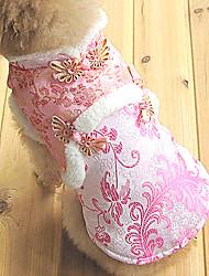 abordables -Chien Manteaux Robe Vêtements pour Chien Fleur Dorée Rose Coton Costume Pour Hiver Homme Femme Mariage
