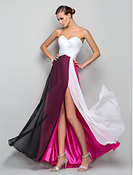 cheap -A-Line Sweetheart Neckline Floor Length Chiffon Empire / Pink Prom / Holiday Dress with Split Front 2020