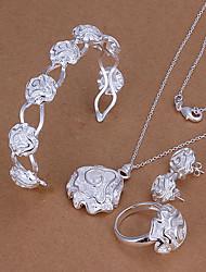 Недорогие -сладкий посеребренные (ожерелье и браслет и серьги и кольцо) комплект ювелирных изделий (серебро) (купить 1 получить 2 бесплатных подарков)