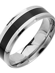 Недорогие -Жен. Кольцо Серебряный с черным Титановая сталь Вольфрамовая сталь Простой стиль Первоначальные ювелирные изделия Повседневные Бижутерия