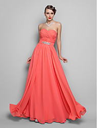 cheap -Ball Gown Strapless / Sweetheart Neckline Floor Length Chiffon Open Back Prom / Formal Evening Dress 2020 with Beading / Sequin / Draping