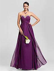 cheap -Sheath / Column Strapless / Sweetheart Neckline Floor Length Chiffon Bridesmaid Dress with Beading / Draping / Criss Cross by LAN TING BRIDE® / Sparkle & Shine