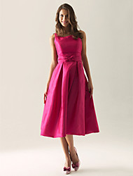 cheap -A-Line / Ball Gown Straps Tea Length Taffeta Bridesmaid Dress with Bow(s) / Draping