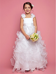 cheap -Princess / A-Line Floor Length Organza / Satin Sleeveless Straps with Sash / Ribbon / Ruched / Cascading Ruffles