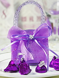 cheap -Round Square Organza Favor Holder with Rhinestone Ribbons Printing Favor Boxes Favor Bags - 12